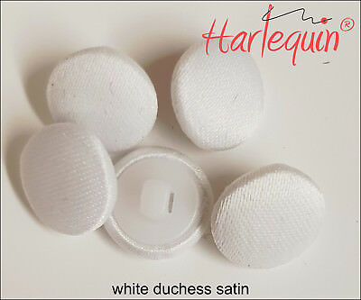 Bridal Buttons Fabric Covered Buttons White Duchess Satin made by Harlequin