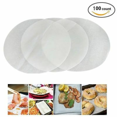 """100 X 20cm (8"""") Non Stick Round Greaseproof Parchment Paper Cake Tin Liners"""