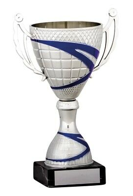 Silver and Blue Presentation Cups Trophies Awards 5 sizes FREE Engraving