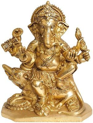 "Mounted Bhagwan Shree Ganesha Brass Statue For Gifting And Temple Décor 8"" Mouse"