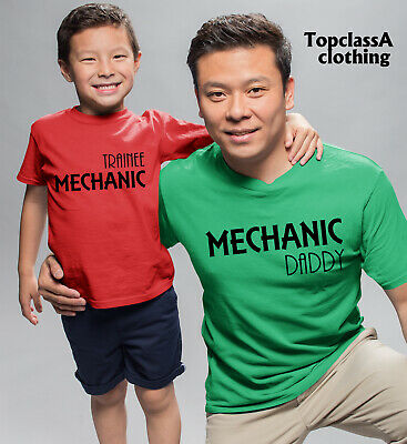 Mechanic daddy and Trainee Mechanic Father Son Daughter Family Matching T shirts