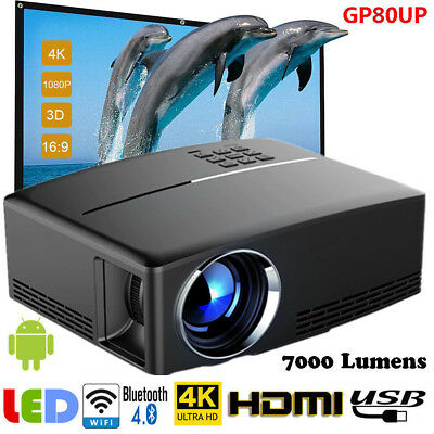 GP80UP WiFi Android6.01 Bluetooth 3D LED Projector 1080P HD Home Cinema HDMI VGA