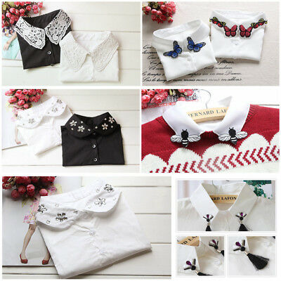 Women Vintage Dickie Ladies Embroidery Lace Fashion Detachable False Collar Cute