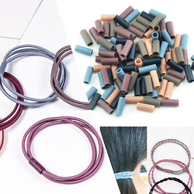 100x Assorted Color Elastic Rubber Hair Band Plastic Tube Findings Connector