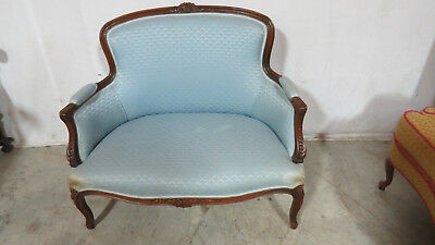 French Carved Loveseat Settee Wanut