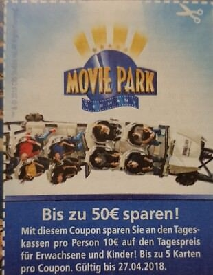 movie park tagesticket 2 f r 1 auch sa so und ferien eur 1 95 picclick de. Black Bedroom Furniture Sets. Home Design Ideas
