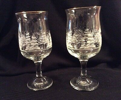 "2 1980s Arby's Wine Water Glasses Goblets Christmas ""Winter Scene"" Gold Rim"