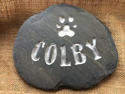 Deep hand carved Pet Memorial stone, plaque, dog, cat, grave marker, beach