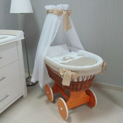Brown Wicker Moses Basket + Chassis + Big Wheels + Bedding + Drape 8 Colours
