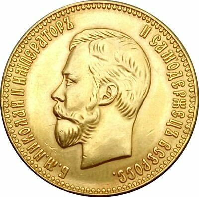 24-K Gold plated 1901 russia 10 Roubles  Copper Coin copying