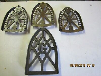 Lot of (4) Flat / Sad Iron Stands Trivets Cast Iron Vintage,JAS SMART MFG CANADA