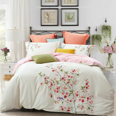 Spring Bedding set 4 pcs embroidered Upscale pure cotton quilt cover bed sheet