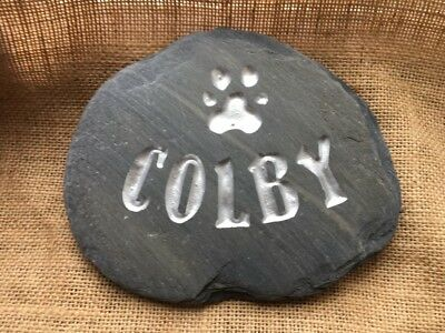 Handcarved, Personalised Pet Memorial stone, dog cat grave marker silver, grave