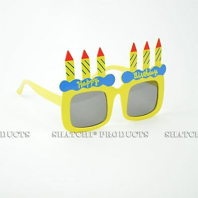 Happy Birthday Cake Candle Glasses Clear Novelty Fancy Costume Party Accessories
