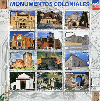 Dominican Rep 2017 MNH Colonial Monuments Cathedrals 12v M/S Architecture Stamps
