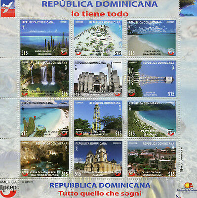 Dominican Rep 2017 MNH UPAEP Tourism 12v M/S Caves Waterfalls Cactus Stamps