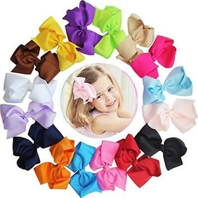 """16 Pcs 6"""" Hair Bow Baby Girls Toddlers Alligator Hair Clips Solid Ribbon Head Ne"""
