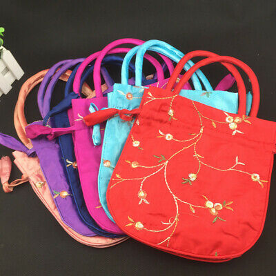 NEW Chinese bag Tradition Embroidered Flower Silk Satin Purse Jewelry Bag Gift