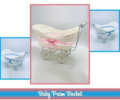 Large Pram Hamper Wicker Baby Basket Baby Shower Party Gifts Boys Girls New Born