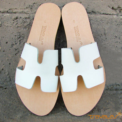 Handmade Ancient Greek Natural Leather H Sandals Slides Flat New White