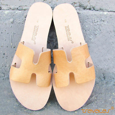 Handmade Ancient Greek Top Grain Leather H Sandals Slides Flat New Natural Tan