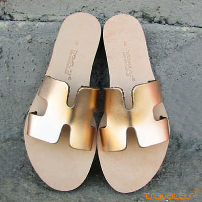 Handmade Ancient Greek Top Grain Leather H Sandals Slides Flat New Rose Gold