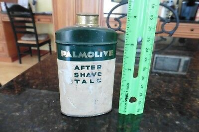Vintage Advertising Powder Tin PALMOLIVE Colgate After Shave Talc Contents 1950s