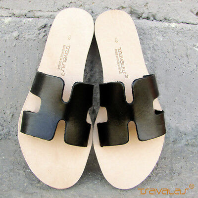 Handmade Ancient Greek Top Grain Leather H Sandals Slides Flat New Black