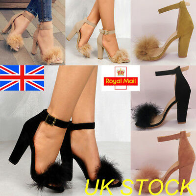 UK Women Fluffy Fur Ankle Strap Sandals Stiletto Block High Heels Cocktail Shoes