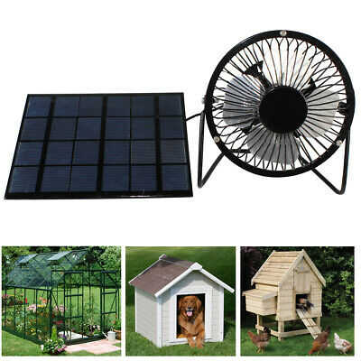USB Fan Powered by Solar Panel for RV Greenhouse Dog House Roof Ventilator