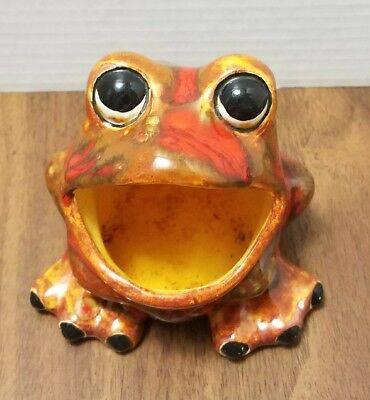 Vintage ceramic multicolored sponge frog kitchen frog