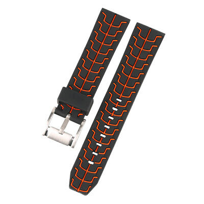20/22/24mm Red/Blue Men Silicone Watch Band Replacement Pin Buckle Spring Bars