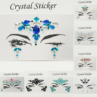 Women Fashion Crystal Face Sticker Makeup Art Party Performing Face Accessories