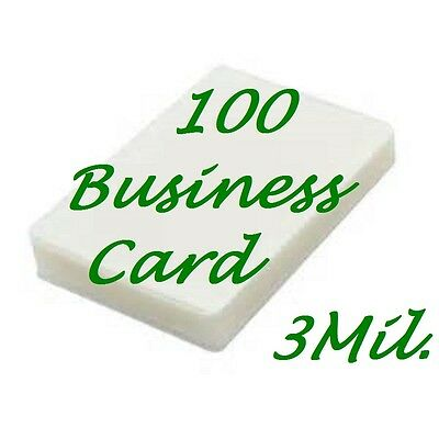100 Business Card Laminating Pouches Laminator Sleeves 2-1/4 x 3-3/4 3 mil Gloss