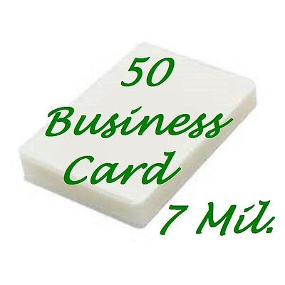 50 Business Card 7 Mil Laminating Pouches 2-1/4 x 3-3/4 Fast USA Shipping
