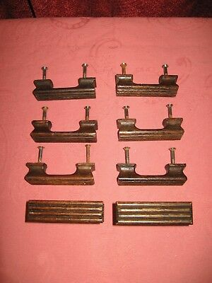 Set of 8 Antique Vintage OAK wooden Desk / Drawer Pull Handles