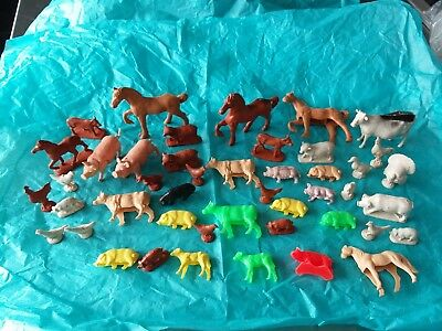 Vtg Large Lot Farm Animals Auburn Rubber Imperial Hog Turkey Cow Pig Lamb Old