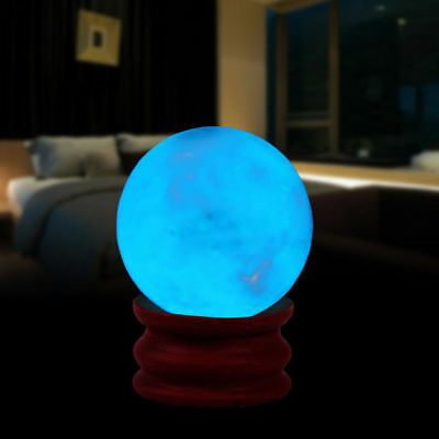 35MM Blue Luminous Quartz Crystal Sphere Ball Glow In The Dark Stone With Base Y