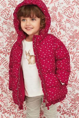BNWT Next Girls Red Floral Padded Jacket / Coat 12-18 Months