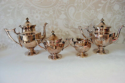 Vintage SET Standard Silver Co.-Toronto Coffee Pot, Teapot, Creamer, Sugar Bowl