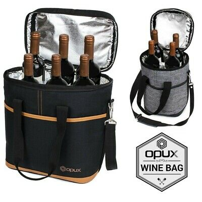 OPUX Insulated 4 Bottle Wine Bag Carrier Tote Carrying Cooler for Picnic Travel