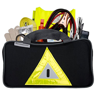 Roadside Emergency Kit Includes   First Aid Kit, Jumper Cables, Tow Rope & More
