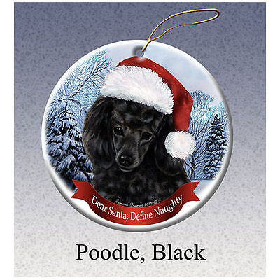 Poodle Black Howliday Porcelain China Dog Christmas Ornament