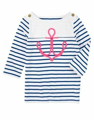 NWT Gymboree Stripes And Anchor Girls Pink Anchor Stripe Top Tee Shirt 4 5