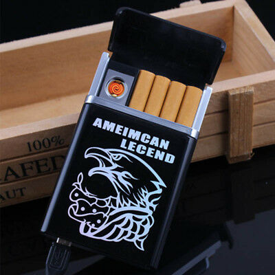 2 in1 Automatic Cigarette Case Inbuilt Windproof Lighter Metal Box Holder Gift