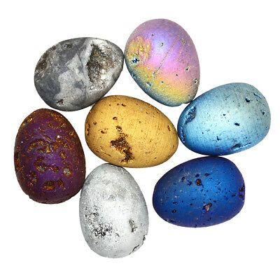 Titanium Coated Drusy Crystal Agate Geode Sphere Ball Egg Sculpture 30x40mm