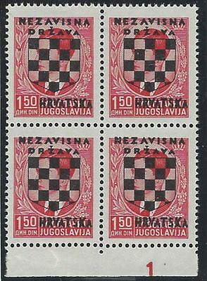 CROATIA/NDH/KROATIEN, 2nd Provisionals, 1.50D block of four**, with PLATE NO. 1