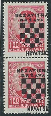 CROATIA/NDH/KROATIEN, 2nd Provisionals, 1.50D mint pair*, with OVERPRINT SHIFTED