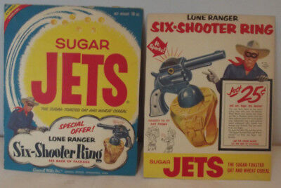 1950's General Mills Sugar Jets Lone Ranger Six Shooter 2 Ceral Box Panels RARE
