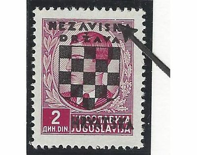 CROATIA/NDH/KROATIEN, 2nd Provisionals, mint** 2D stamp with BREAK IN FRAME LINE